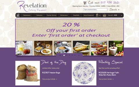 Screenshot of Home Page revelationcatering.co.uk - Revelation Catering Equipment | Beautifully present your food - captured Sept. 30, 2014