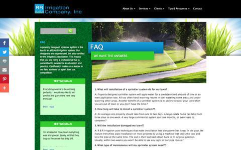 Screenshot of FAQ Page rrirrigation.com - RR Irrigation  » FAQ - captured Sept. 23, 2018