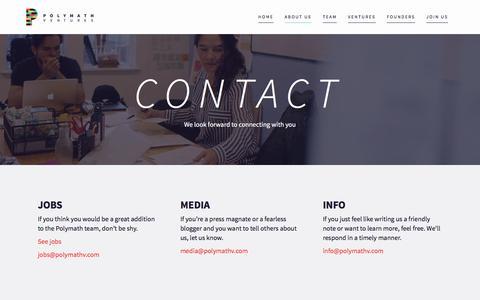 Screenshot of Contact Page polymathv.com - Contact - Polymath Ventures - captured Aug. 27, 2016