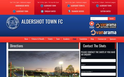 Screenshot of Maps & Directions Page theshots.co.uk - Directions | Aldershot Town FC - captured Oct. 7, 2017