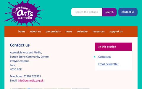 Screenshot of Contact Page aamedia.org.uk - Contact us - Accessible Arts and Media - captured Oct. 7, 2017