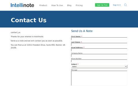 Screenshot of Contact Page intellinote.net - Contact Us | Intellinote - captured July 20, 2014