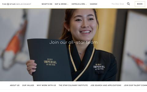 Screenshot of Jobs Page star.com.au - Career & Job Opportunities Broadbeach | The Star Gold Coast - captured Oct. 14, 2018
