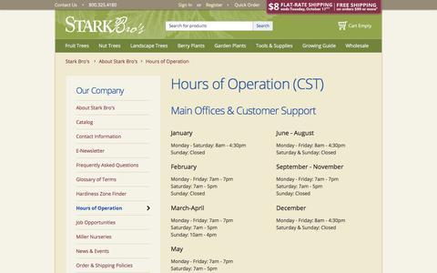 Screenshot of Hours Page starkbros.com - Hours of Operation - Stark Bro's - captured Oct. 16, 2017