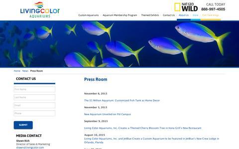 Screenshot of Press Page livingcolor.com - Press Room   Living Color Aquariums - captured Jan. 31, 2016
