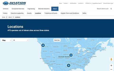 Screenshot of Locations Page atsmro.com - Locations - Aviation Technical Services - captured Oct. 4, 2018