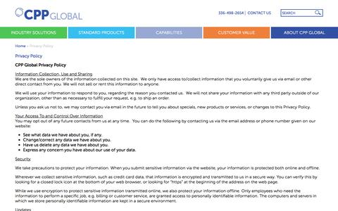 Screenshot of Privacy Page cppglobal.com - Privacy Policy - CPP Global - captured July 9, 2016