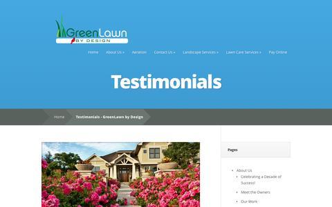 Screenshot of Testimonials Page greenlawndesign.com - Testimonials - GreenLawn by Design - captured Sept. 27, 2016