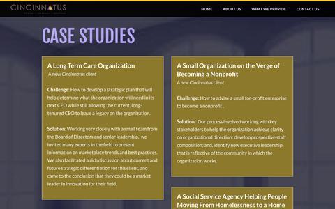 Screenshot of Case Studies Page cincinnatus.com - Case Studies - Cincinnatus - captured July 13, 2016