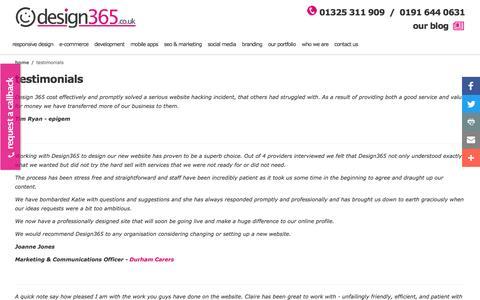 Screenshot of Testimonials Page design365.co.uk - Testimonials - captured Nov. 24, 2016