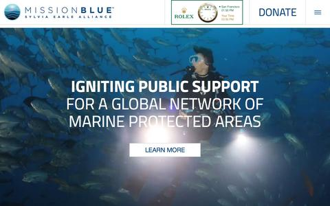 Screenshot of Home Page mission-blue.org - Mission Blue | Ocean News, Action and Hope - captured Oct. 8, 2015