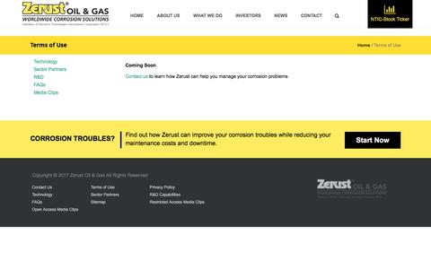 Screenshot of Terms Page zerust-oilgas.com - Terms of Use - Zerust Oil & Gas - captured Jan. 23, 2017
