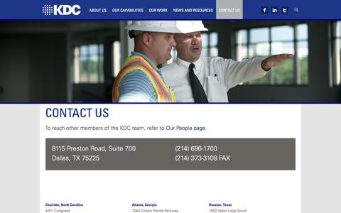 Screenshot of Contact Page kdc.com - Contact Us - KDC - captured Oct. 16, 2017