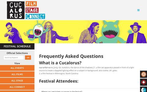 Screenshot of FAQ Page cucalorus.org - FAQs - Cucalorus Film Festival - captured Jan. 10, 2018