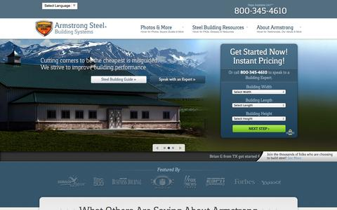 Screenshot of Home Page armstrongsteel.com - Armstrong Steel - The Steel Building Destination For Millions - captured Sept. 30, 2014