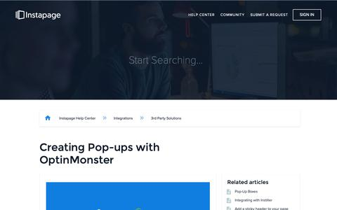 Screenshot of Support Page instapage.com - Creating Pop-ups with OptinMonster – Instapage Help Center - captured Nov. 9, 2018