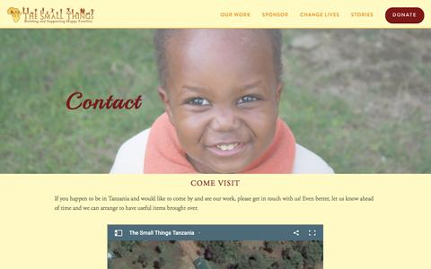 Screenshot of Contact Page thesmallthings.org - Contact — The Small Things - captured Feb. 28, 2016