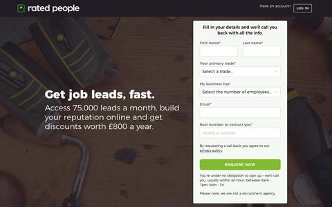 Screenshot of Signup Page ratedpeople.com - Sign Up to Rated People – Access 75000+ Job Leads a Month - captured Jan. 14, 2018
