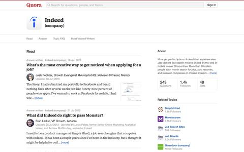 Topic Feed in Indeed (company) - Quora