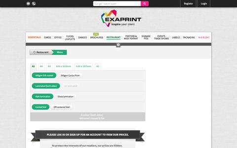 Screenshot of Menu Page exaprint.co.uk - Menu | Exaprint - captured Nov. 14, 2016