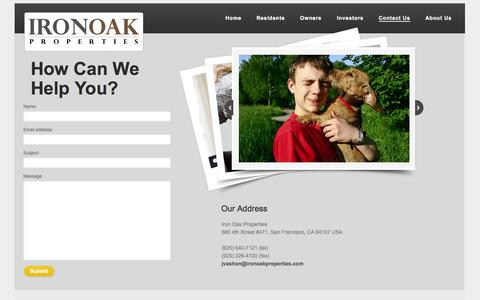 Screenshot of Privacy Page Contact Page ironoakproperties.com - Contact Us - captured Oct. 27, 2014