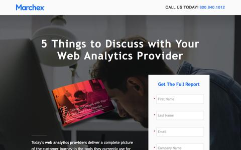 Screenshot of Landing Page marchex.com - Marchex - 5 Things to Discuss with Your Web Analytics Provider - captured March 31, 2018