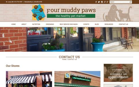 Screenshot of Contact Page fourmuddypaws.com - Contact Us | Four Muddy Paws - A Self Service Dog Wash and Healthy Pet Market - captured Jan. 19, 2016