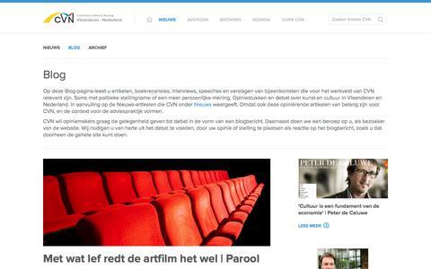 Screenshot of Blog cvn.be - Blog - CVN - Commissie Cultureel Verdrag Vlaanderen - Nederland - captured Oct. 27, 2014