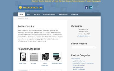 Screenshot of Home Page stellardata.com - Stellar Data - captured Oct. 7, 2014