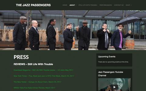 Screenshot of Press Page jazzpassengers.com - Press - captured Feb. 26, 2018