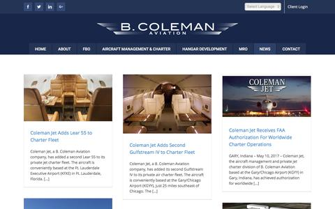 Screenshot of Press Page b-coleman.com - B. Coleman Aviation - News - captured July 28, 2017