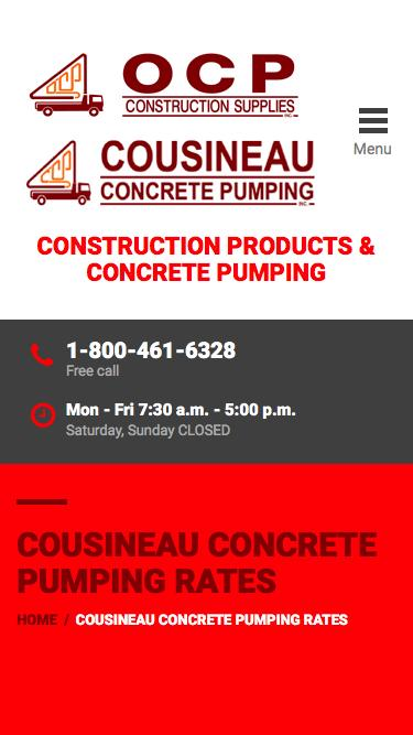 Screenshot of Pricing Page  ocp.ca - Cousineau Concrete Pumping Rates | OCP