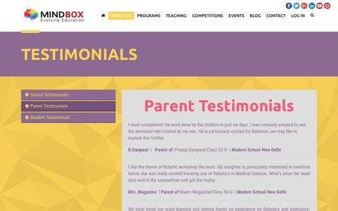 Screenshot of Testimonials Page mindbox.in - MindBox Evolving Education   TESTIMONIALS - captured April 3, 2016