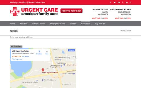 Screenshot of Maps & Directions Page doctorsexpressnatick.com - Directions to Walk-In Urgent Care Natick MA   AFC Urgent Care Natick - captured June 4, 2017
