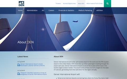 Screenshot of About Page flydenver.com - About DEN   Denver International Airport - captured Jan. 19, 2016