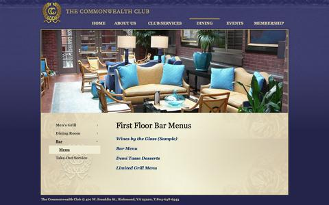 Screenshot of Menu Page thecommonwealthclub.net - Menu - Commonwealth Club - captured Oct. 18, 2018
