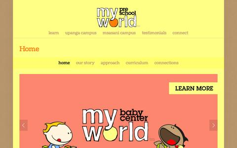 Screenshot of Home Page myworldtz.com - My World Pre-School - captured Feb. 15, 2016