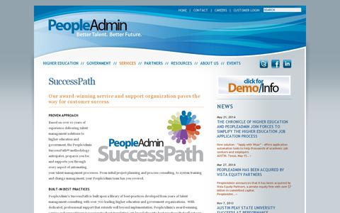Screenshot of Services Page peopleadmin.com - SuccessPath - PeopleAdmin — PeopleAdmin - captured July 19, 2014