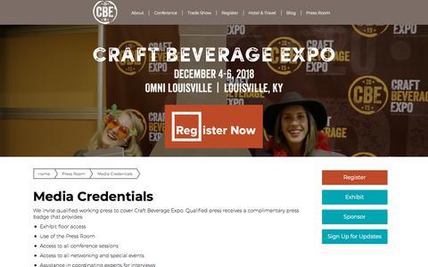 Screenshot of Press Page craftbeverageexpo.com - Media Credentials - Craft Beverage Expo - captured July 22, 2018