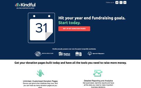Screenshot of Landing Page kindful.com captured Dec. 16, 2016