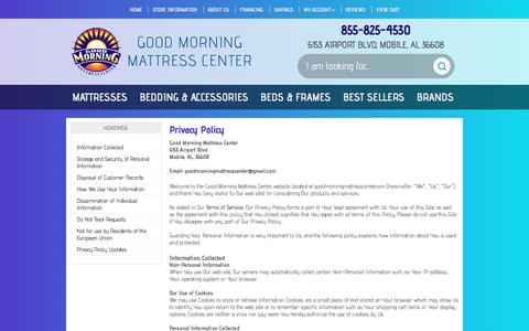 Screenshot of Privacy Page goodmorningmattresscenter.com - Privacy Policy | Good Morning Mattress Center - captured July 21, 2018