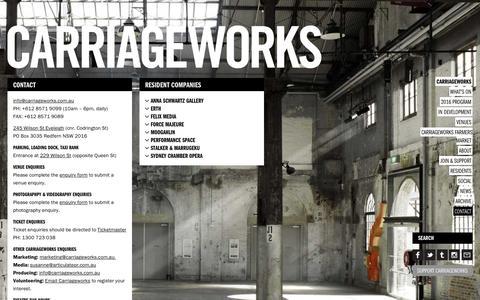 Screenshot of Contact Page carriageworks.com.au - Carriageworks - captured Dec. 7, 2015