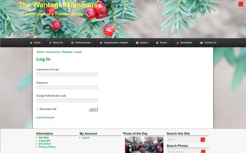 Screenshot of Login Page wantagemummers.org.uk - Wantage Mummers, lively performers of a local traditional mumming play - captured Feb. 23, 2018