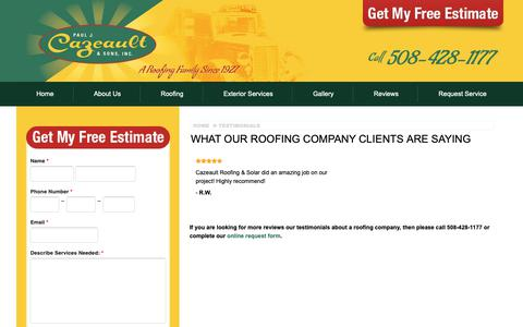 Screenshot of Testimonials Page cazeault.com - Reviews and Testimonials on Our Roofing & Solar Company - captured Sept. 27, 2018