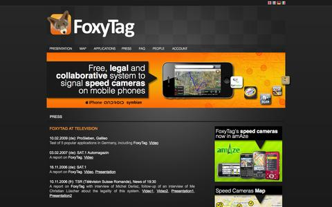 Screenshot of Press Page foxytag.com - FoxyTag - Free, legal and collaborative system to signal speed cameras on mobile phones - captured Nov. 25, 2016