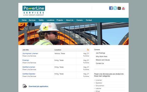 Screenshot of Jobs Page powerlinesinc.com - Job Postings | Power Line - captured Oct. 2, 2014
