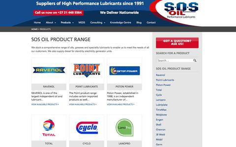Screenshot of Products Page sosoil.co.za - Products Archive - SOS Oil - captured Sept. 30, 2014