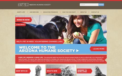 Screenshot of Home Page azhumane.org - Arizona dog and cat adoption - captured Sept. 19, 2014