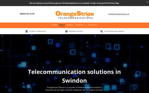 Screenshot of About Page orangestripetelecom.co.uk - Telecommunication solutions | OrangeStripe Telecommunications - captured Oct. 18, 2018
