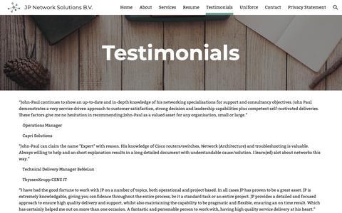 Screenshot of Testimonials Page jpnetworksolutions.com - JP Network Solutions B.V. - Testimonials - captured Oct. 2, 2018